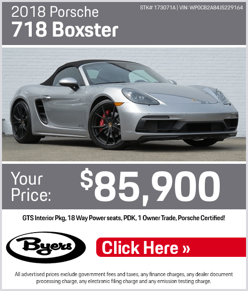 2018 718 Boxster Pre-Owned Special at Byers Porsche in Columbus, OH