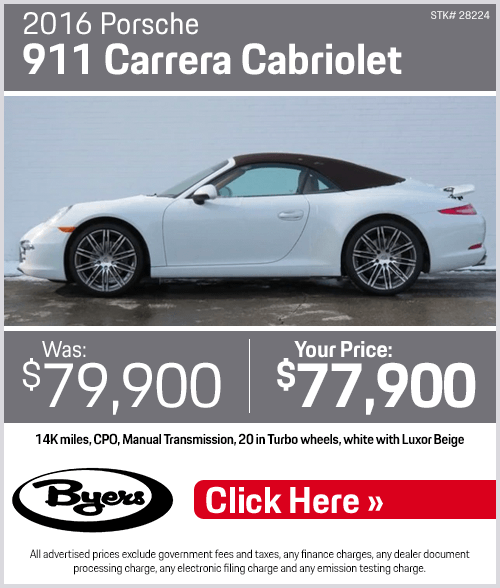 2016 911 Carrera Cabriolet Pre-Owned Special at Byers Porsche in Columbus, OH
