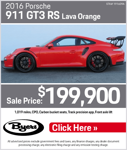 2016 911 GT3 RS Pre-Owned Special at Byers Porsche in Columbus, OH