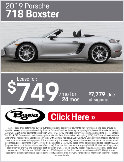 2019 Porsche 718 Boxster Low Payment Lease Special in Columbus, OH