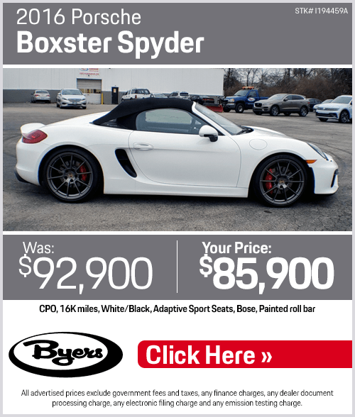 2016 Porsche Boxster Spyder Pre-Owned Special in Columbus, OH