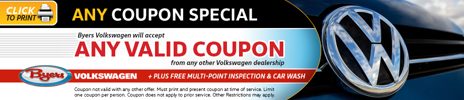 Click to print this Volkswagen one-up special from Byers Volkswagen