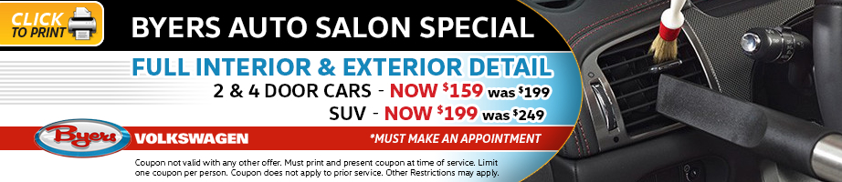 Click to print this Volkswagen full interior and exterior detail service special from Byers Volkswagen
