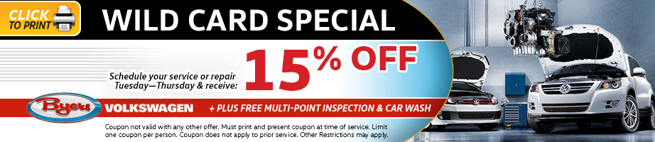 Click to print this Volkswagen wild card service special from Byers Volkswagen