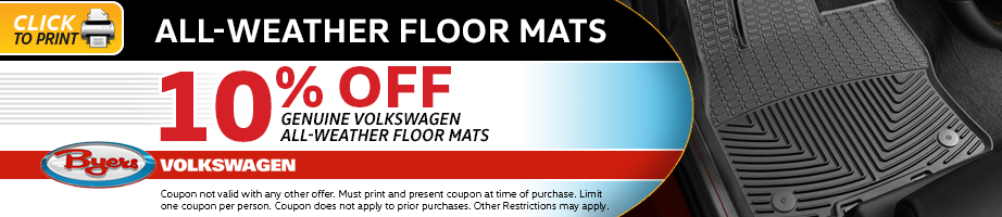 Click to print this Volkswagen all-weather floor mat parts special in Columbus, OH