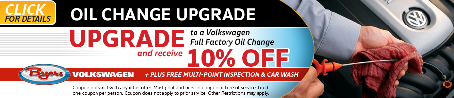 Click to see more information about this Volkswagen oil change upgrade service special from Byers Volkswagen