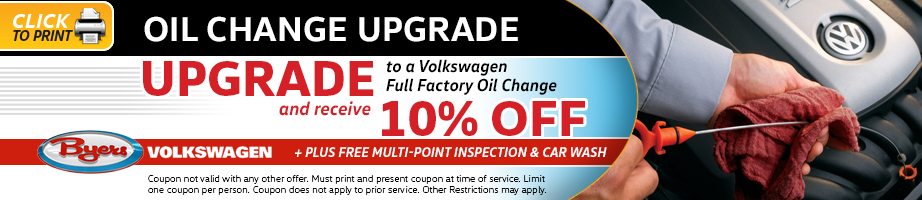 Click to print this Volkswagen oil change upgrade service special from Byers Volkswagen