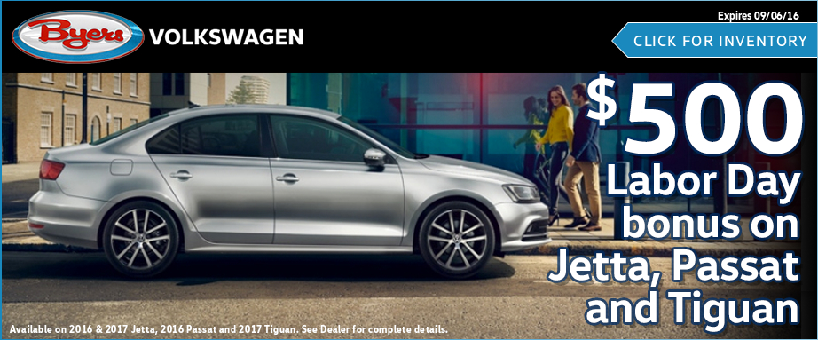 Save on a new Volkswagen Jetta, Passat, or Tiguan with this trade allowance special offer available at Byers Volkswagen in Columbus, OH