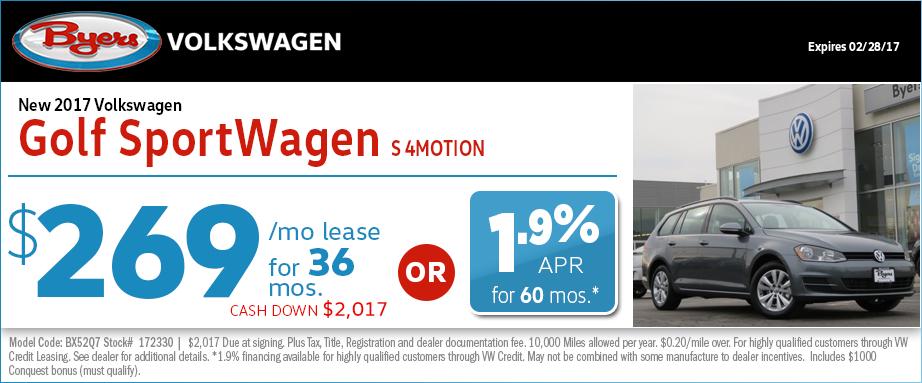 2017 Volkswagen Golf SportWagen Lease Special in Columbus, OH