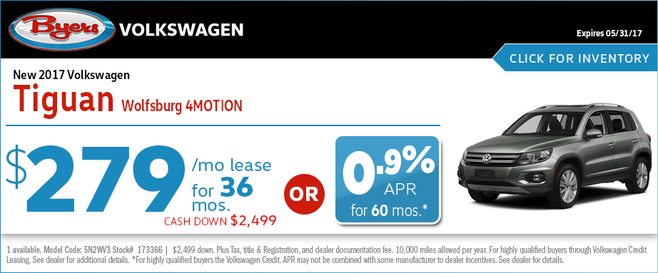 2017 Volkswagen Tiguan Wolfsburg 4MOTION Lease or Low APR Special in Columbus, OH