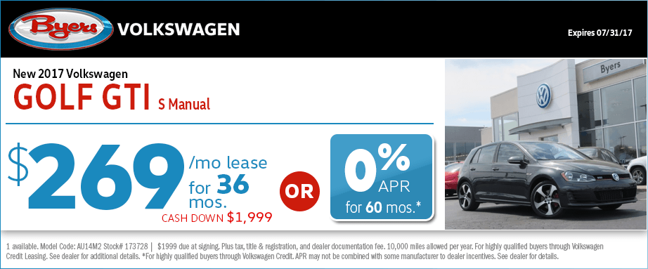 2017 Volkswagen Golf GTI S Manual Lease or Low APR Special in Columbus, OH