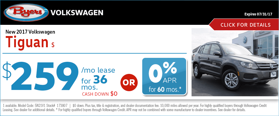 2017 Volkswagen Tiguan S Lease or Low APR Special in Columbus, OH