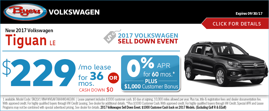 2017 Volkswagen Tiguan LE Lease or Low APR Finance Special in Columbus, OH