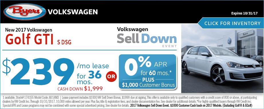 2017 Volkswagen Golf GTI S Lease Special
