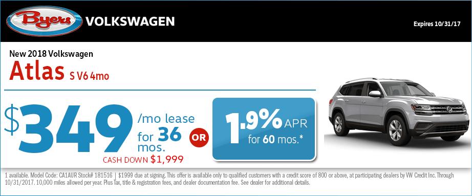 2018 Volkswagen Atlas V6 Lease Special