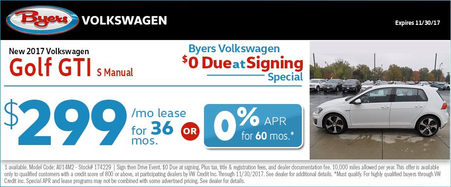 2017 Volkswagen Golf GTI S Lease or Financing Special