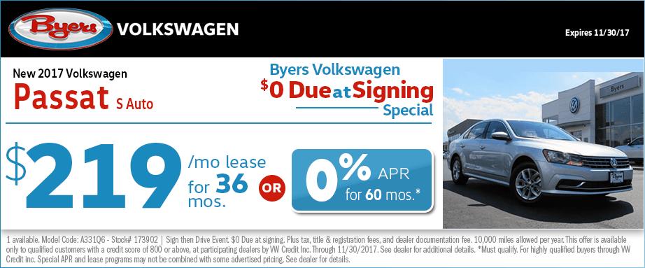 2017 Volkswagen Passat S Auto Financing or Lease Special