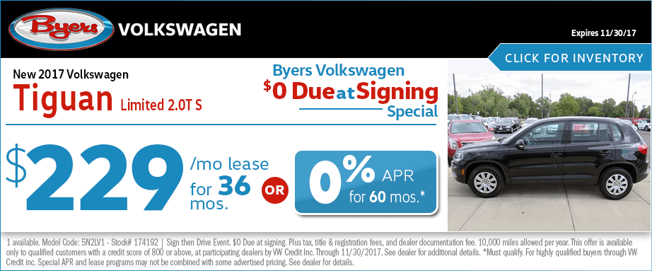 2017 Volkswagen Tiguan Limited 2.0T S Leasing or Financing Special Savings Offer
