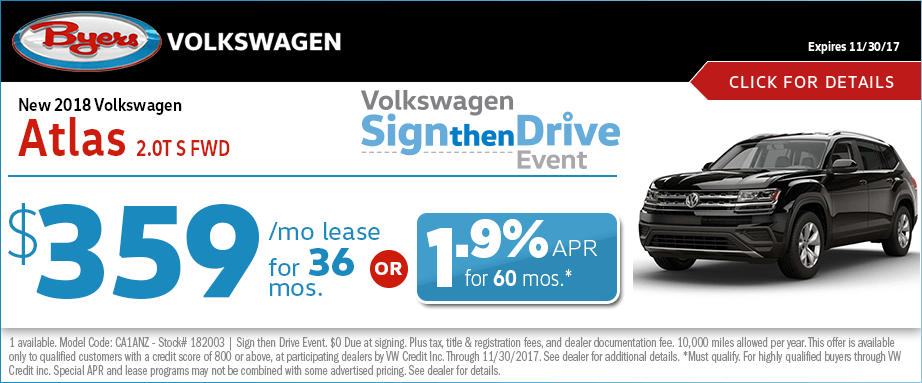 2018 Volkswagen Atlas V6 Lease Special Sign then Drive Event Offer