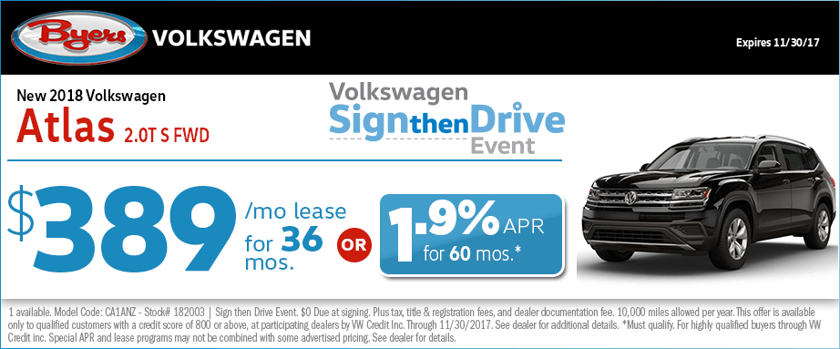 2018 Volkswagen Atlas 2.0T S FWD Lease or Financing Special Offer