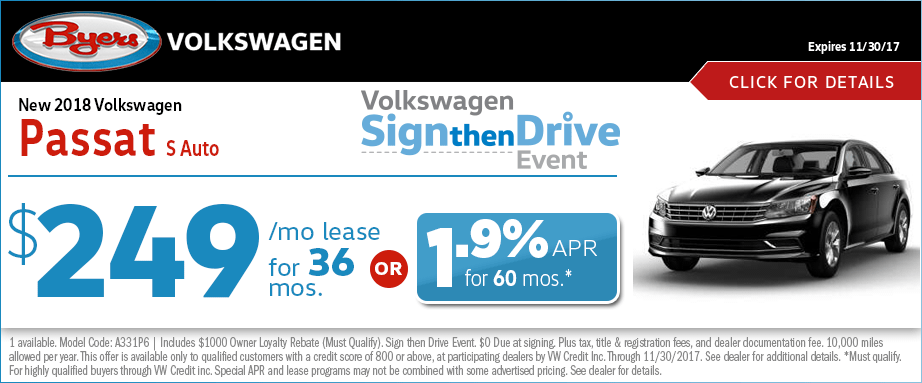 2018 Volkswagen Passat S Auto Lease Special Sign then Drive Event Offer