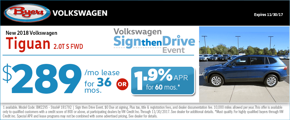2018 Volkswagen Tiguan 2.0T S FWD Leasing or Financing Special Savings Offer