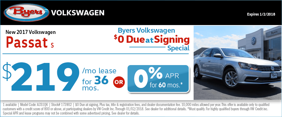2017 Volkswagen Passat S Lease or Finance Special in Columbus, OH