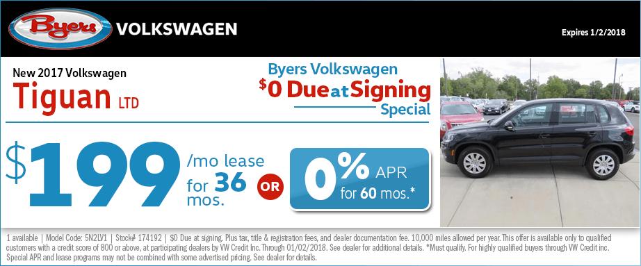2017 Volkswagen Tiguan LTD Lease or Finance Special
