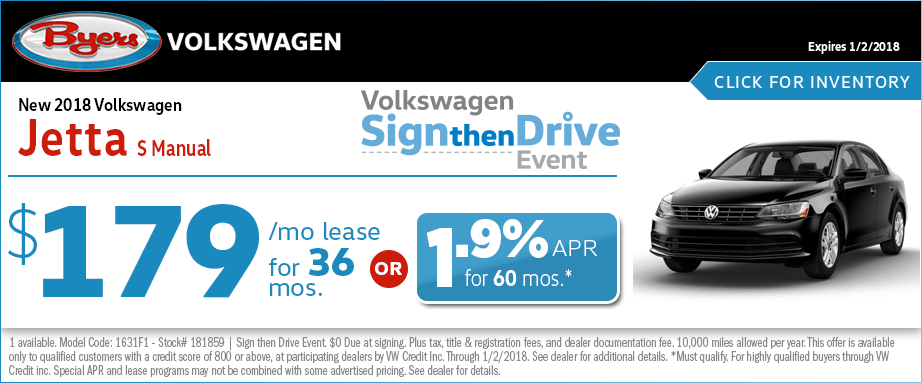 2018 Volkswagen Jetts S Lease Special Sign then Drive Event Offer
