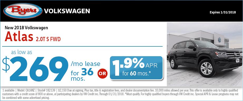 2018 Volkswagen Atlas 2.0T S Front Wheel Drive Lease Special