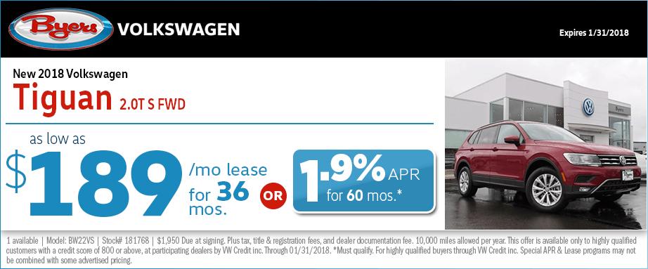 2018 Volkswagen Tiguan S Front Wheel Drive