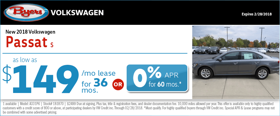 Lease a 2018 Passat for a Low Monthly Payment at Byers Volkswagen in Columbus, OH