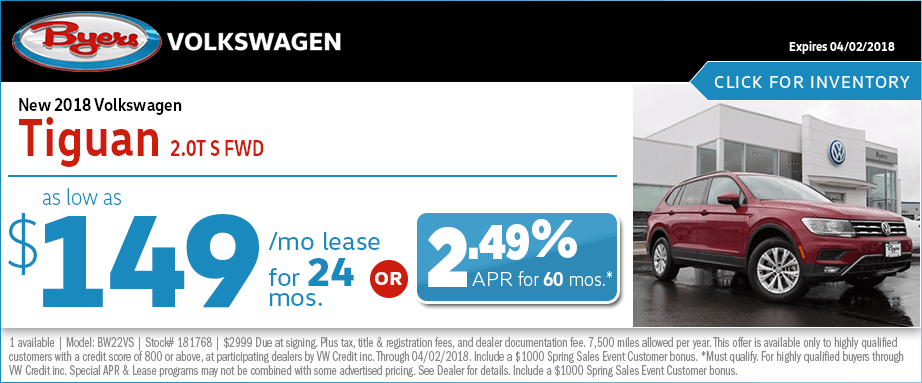 Special 2018 Tiguan Lease & Finance Offers at Byers VW in Columbus, OH