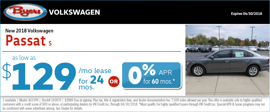Special Columbus, OH Passat S Lease & Finance Offers at Byers Volkswagen