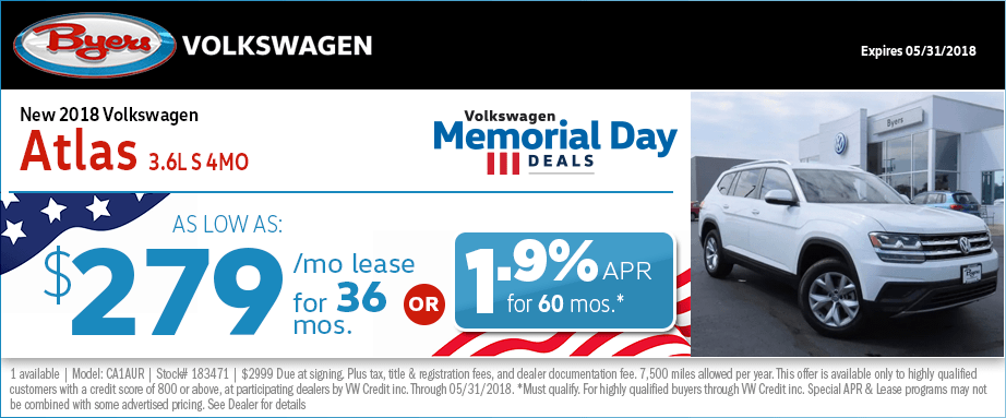 Save on a new 2018 VW Atlas with special low payment lease & finance offers from Byers Volkswagen in Columbus, OH