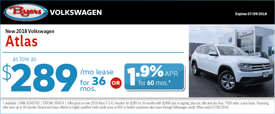 2018 Volkswagen Atlas Lease or Finance Special in Columbus, OH
