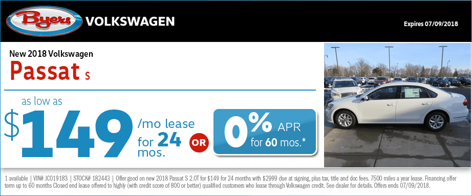 2018 Passat S Lease or Finance Special at Byers Volkswagen in Columbus, OH