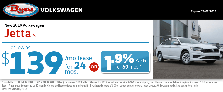 2019 Jetta S Lease or Low APR Special at Byers Volkswagen in Columbus, OH