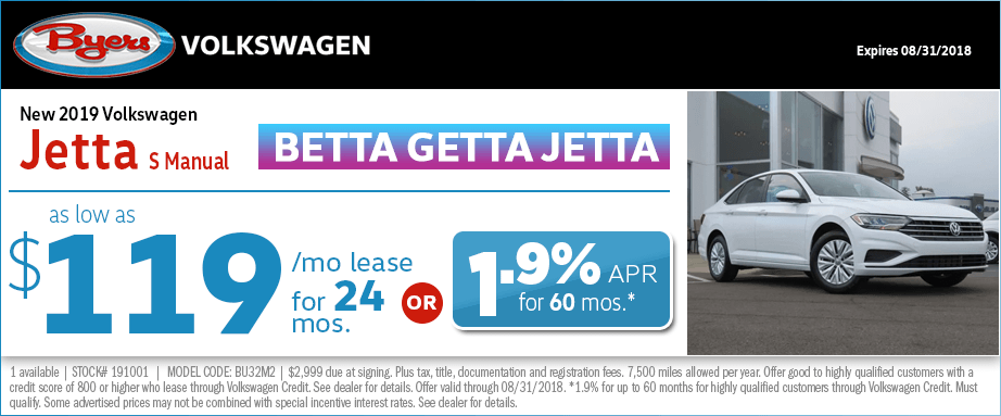 2019 Jetta S Manual Lease or Low APR Special at Byers Volkswagen in Columbus, OH