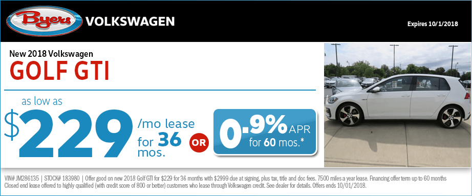 2018 Volkswagen Golf GTI Lease or Low APR Finance Special at Byers Volkswagen in Columbus, OH