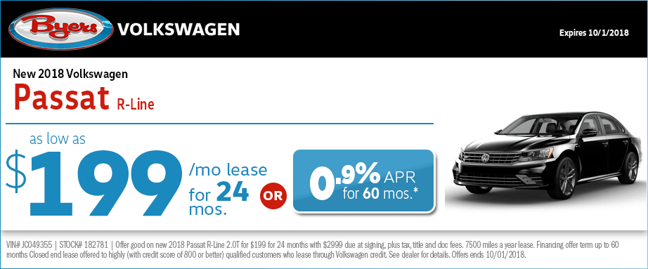 2018 Volkswagen Passat R-Line Lease or Low APR Special at Byers Volkswagen in Columbus, OH