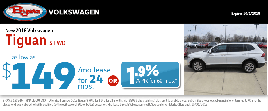 2018 Volkswagen Tiguan S FWD Lease or Low APR Finance Special at Byers Volkswagen in Columbus, OH