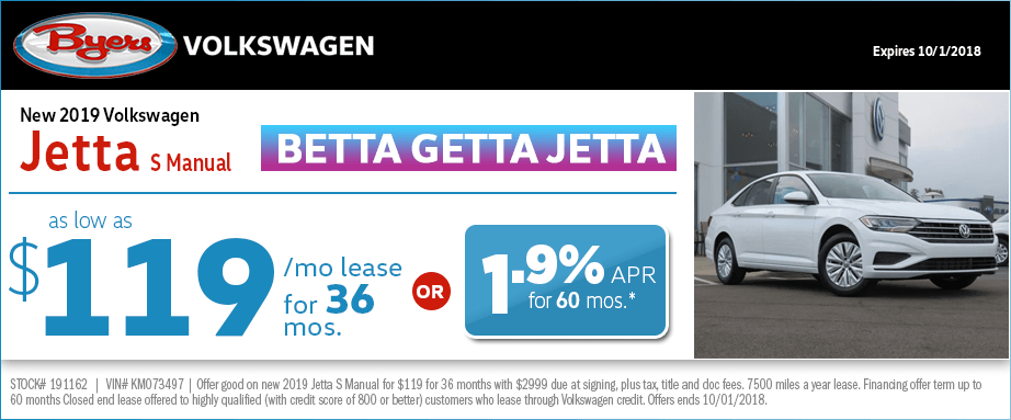 2019 Volkswagen Jetta S Manual Lease or Low APR Special at Byers Volkswagen in Columbus, OH