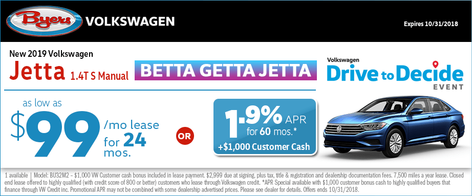 2019 Volkswagen Jetta 1.4T S Manual Lease or Low APR Special at Byers Volkswagen in Columbus, OH