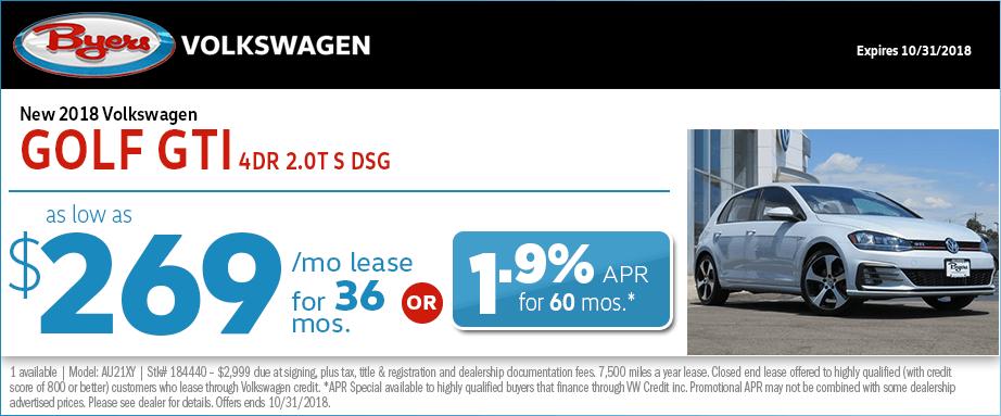 2018 Golf GTI 4-Door 2.0T S DSG Lease or Low APR Special at Byers Volkswagen in Columbus, OH