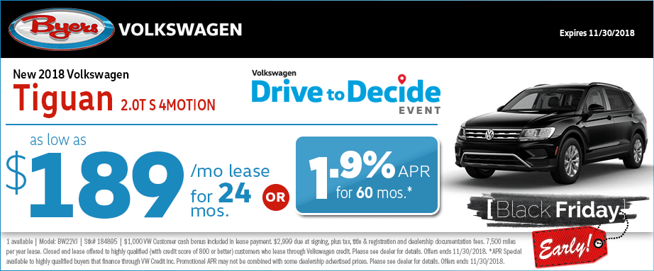 2018 Volkswagen Tiguan 2.0T S 4MO lease and finance special offers