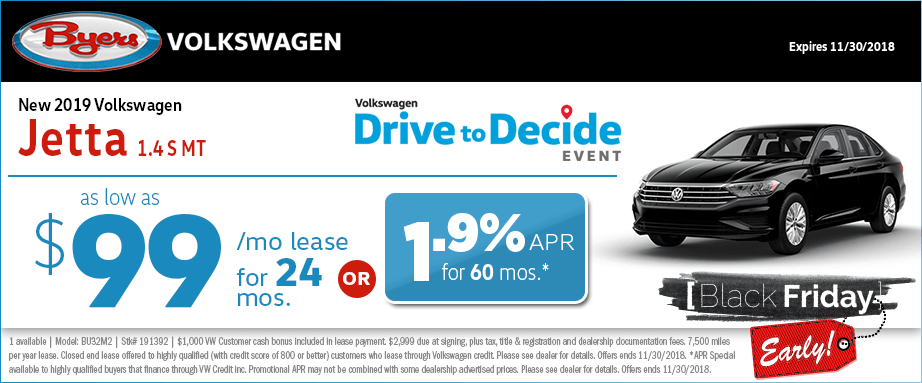 2019 Volkswagen Jetta 1.4s MT lease and finance special offers