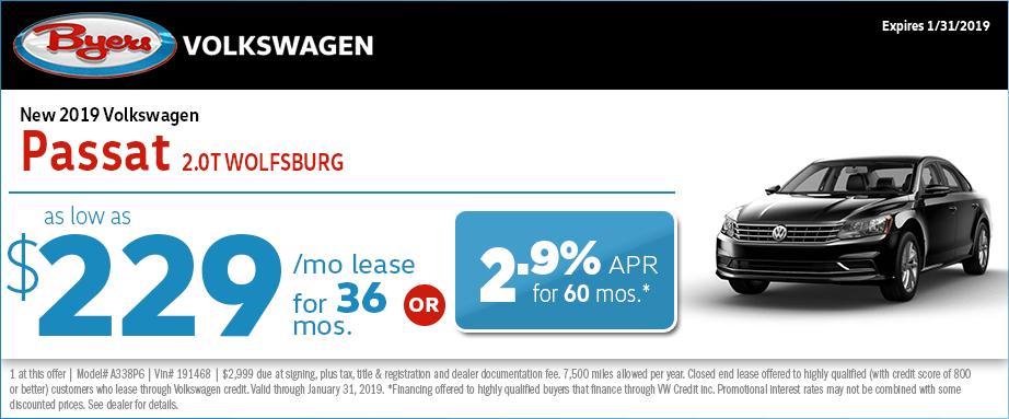 2019 Volkswagen Passat 2.0T Wolfsburg lease or low APR special in Columbus, OH