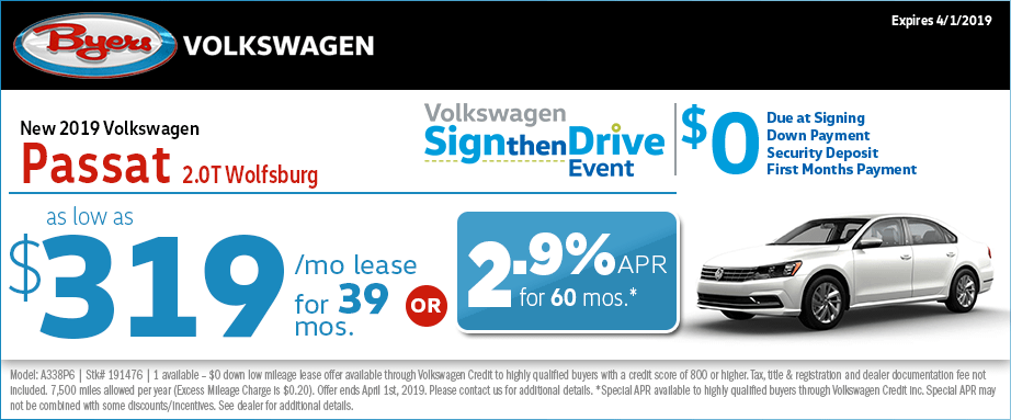 Sign then Drive 2019 VW Passat 2.0T Wolfsburg Lease & Finance Special in Columbus, OH at Byers Volkswagen