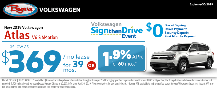 New 2019 Atlas V6 S 4Motion Lease & Finance Special Sign then Drive Offer in Columbus, Ohio